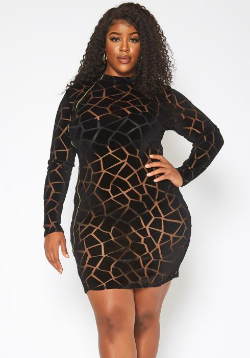 Asoph Plus Size Rocky Mesh Bodycon Mini Dress