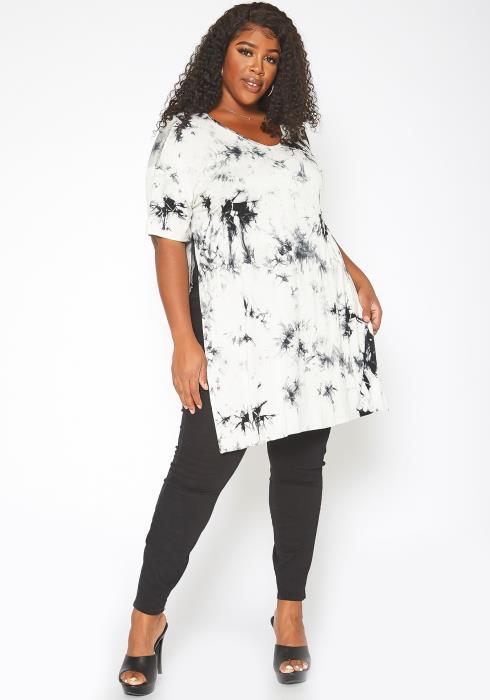 Asoph Plus Size Tie Dye Double  Slit Hem Shirt