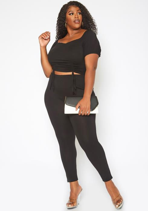 Asoph Plus Size Sweet Desire Double Drawstring Crop Top & Legging Set