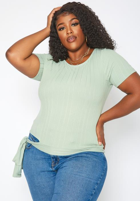 Asoph Plus Size Ribbed Self Tie Fashion Top