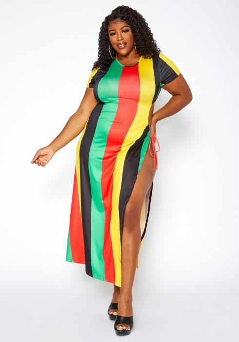 Asoph Plus Size Jamaica Getaway Self Tie Maxi Dress