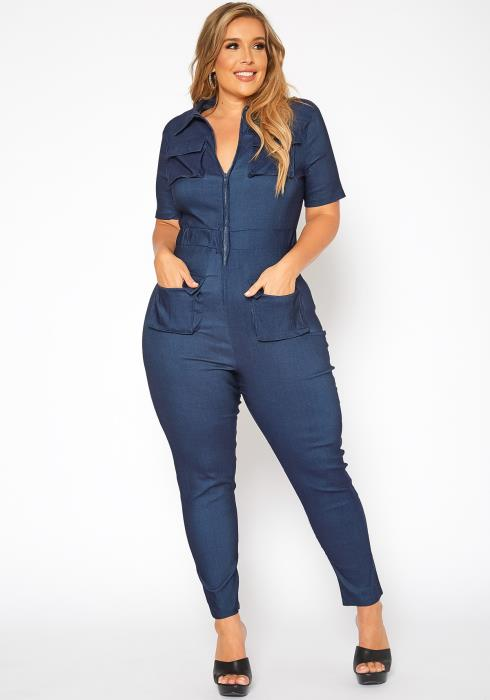 Asoph Plus Size Cargo Pocket Bodycon Jumpsuit