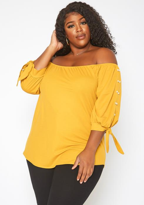 Asoph Plus Size Off Shoulder Pearl Hem Blouse