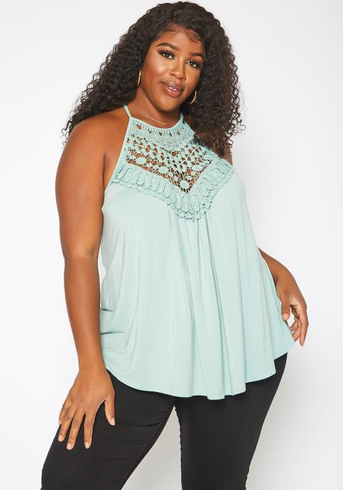 Asoph Plus Size Crochet Hem Cami Top
