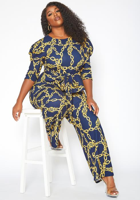 Asoph Plus Size Chainlink Print Peplum Top & Straight Pants Set