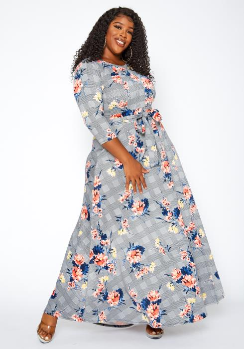 Asoph Plus Size Floral Chic Maxi Flare Dress
