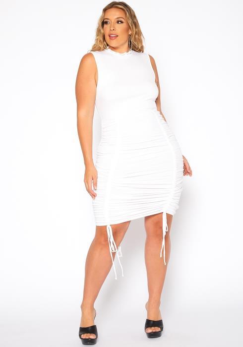Asoph Plus Size Ruched Drawstring Hem Bodycon Dress