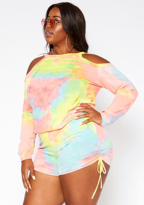 Asoph Plus Size Tie Dye Two Piece Set