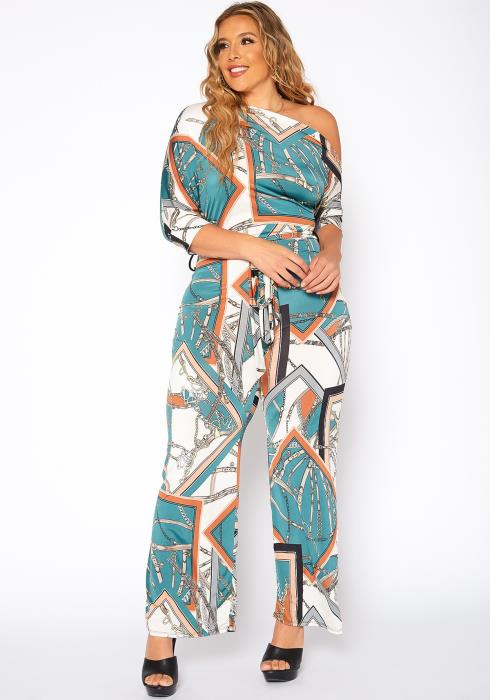 Asoph Plus Size Foreign Print Belted Jumpsuit