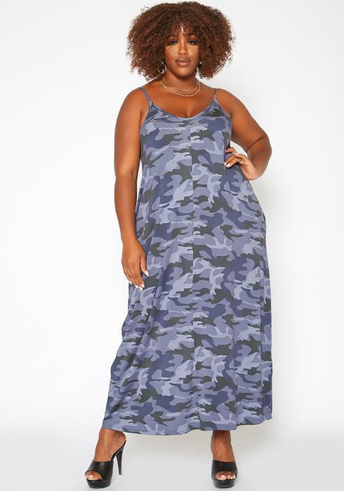 Asoph Plus Size Camo Print Relax Fit Maxi Dress