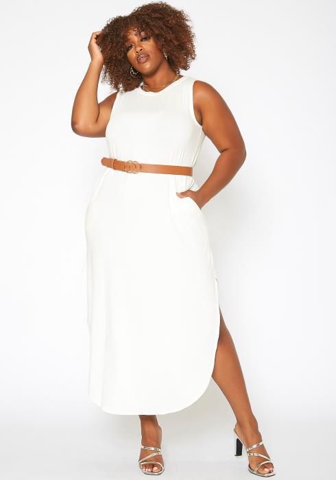 Asoph Plus Size Curved Hem Sleeveless Maxi Dress