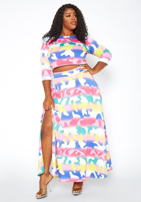 Asoph Plus Size Colorful Camo Print Two Piece Set