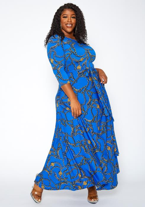 Asoph Plus Size Chain Print Fit & Flare Maxi Dress