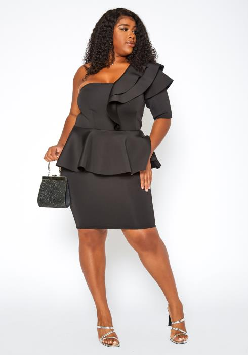 Asoph Plus Size One Shoulder Ruffle Tier Mini Dress