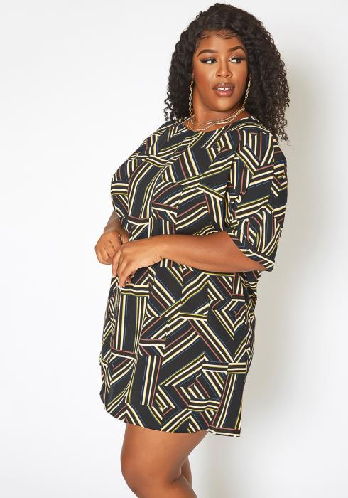 Asoph Plus Size Geometrical Striped Tee Shirt Mini Dress