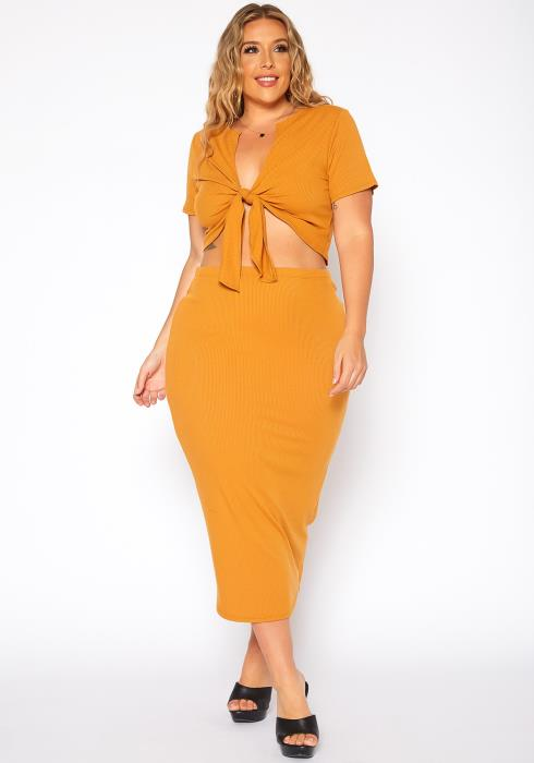 Asoph Plus Size Ribbed Tie Front Crop Top & Maxi Skirt Set
