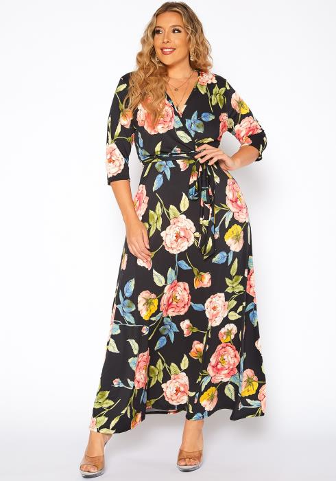 Asoph Plus Size Rose Floral Fit & Flare Maxi Dress