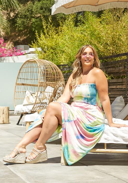 Asoph Plus Size Tie Dye Smocked Maxi Dress