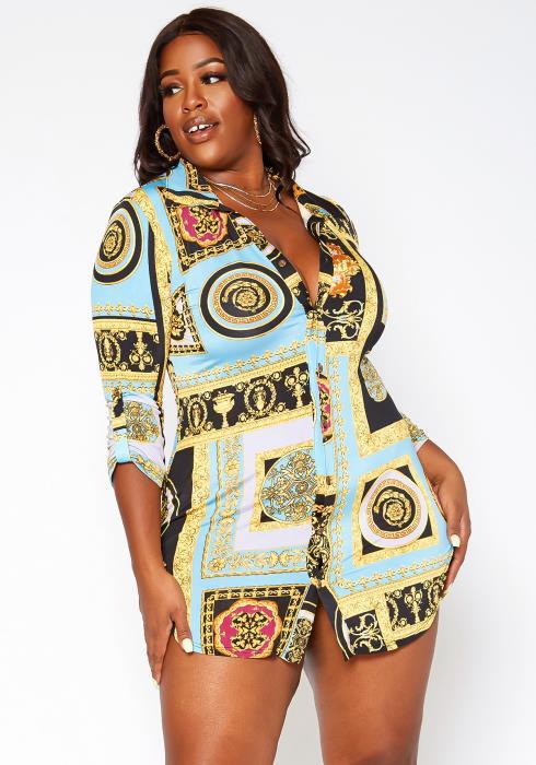 Asoph Plus Size Brocade Print Button Up Collar Mini Dress