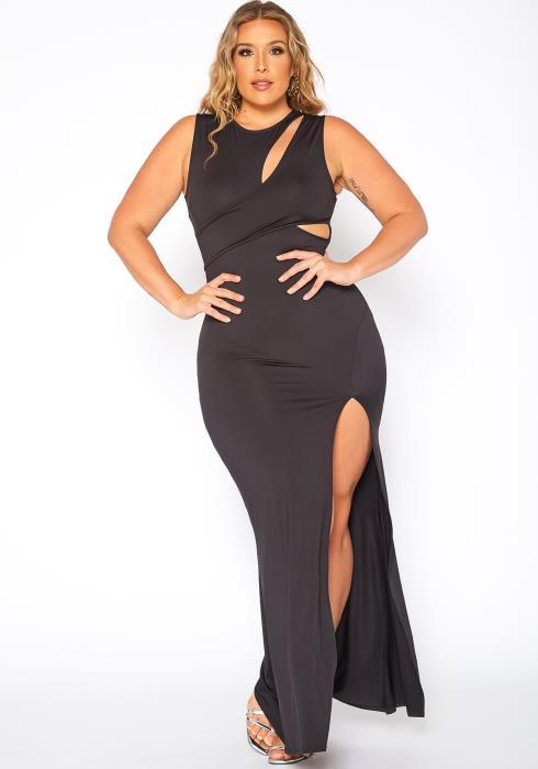 Asoph Plus Size Got Your Attention Slit Hem Maxi Dress