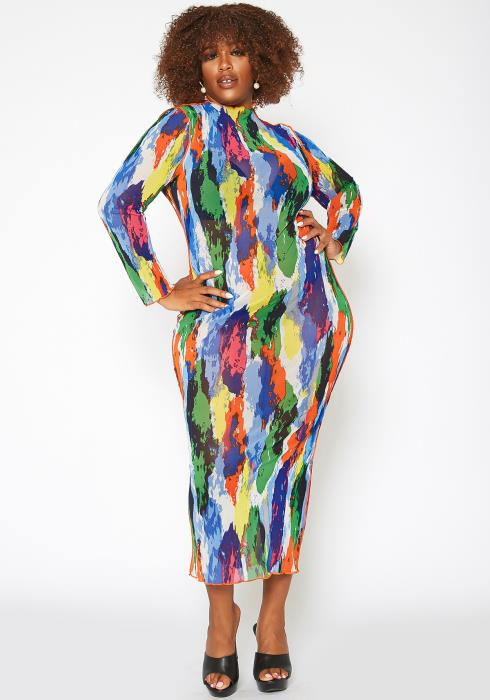 Asoph Plus Size Print Mesh Bodycon Maxi Dress