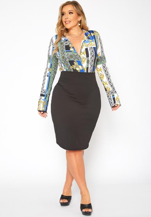 Asoph Plus Size High Waist Pencil Skirt