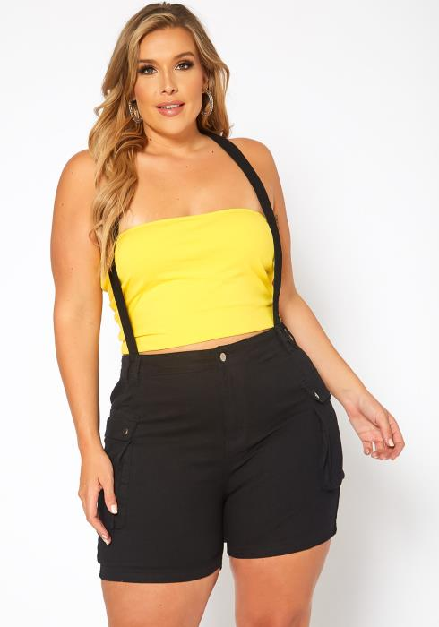 Asoph Plus Size Overall Denim Shorts