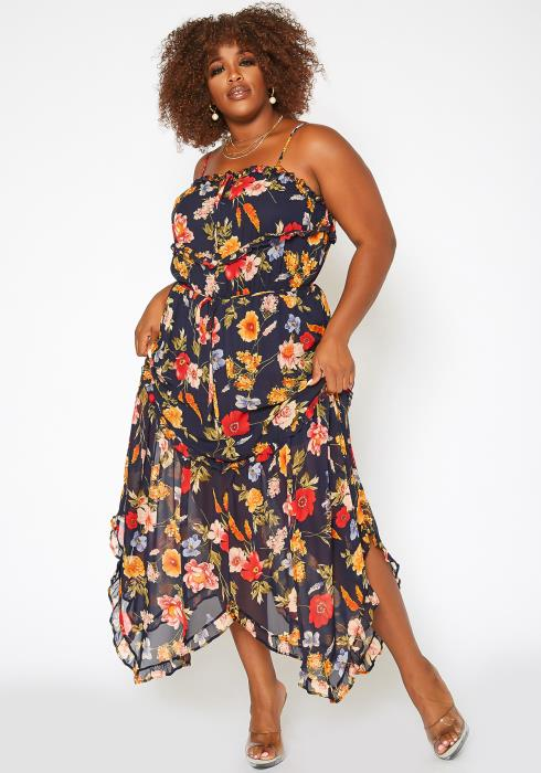Asoph Plus Size Floral Print Asymmetric Hem Maxi Dress