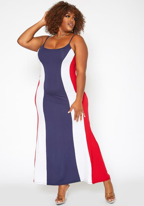 Asoph Plus Size Color Block Flare Maxi Dress
