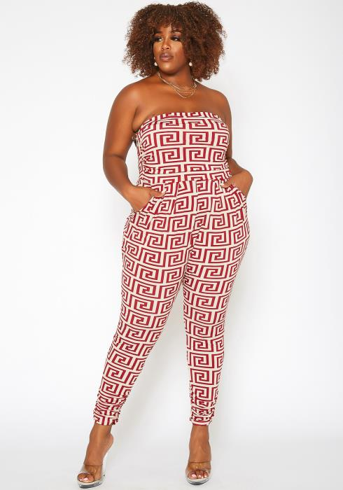Asoph Plus Size Greek Key Print Tube Jumpsuit