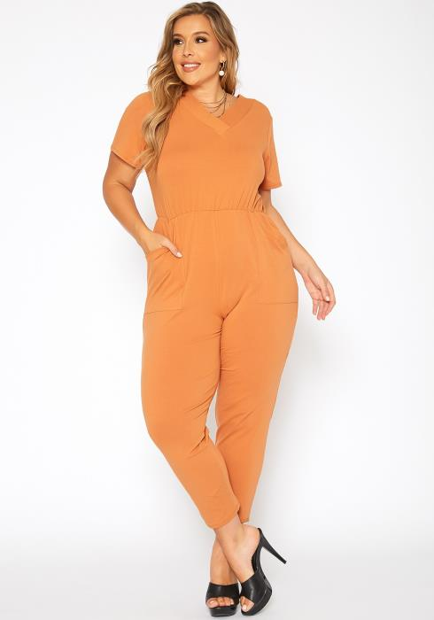 Asoph Plus Size V Neck Short Sleeve Jumpsuit
