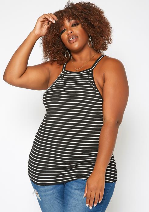 Asoph Plus Size Striped Cami Top