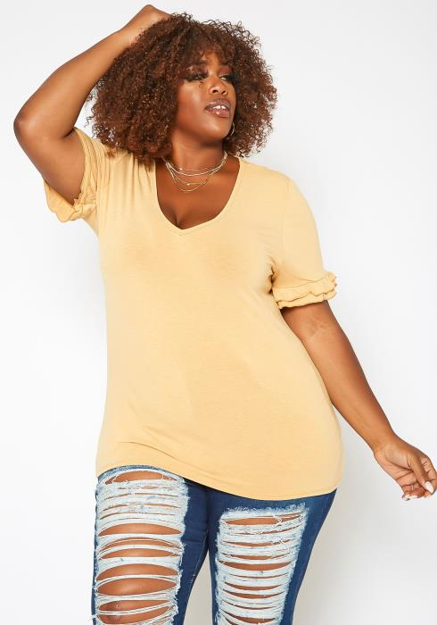 Asoph Plus Size Ruffle Trim V Neck Tee Shirt