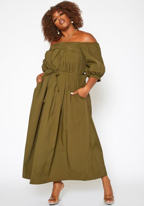 Asoph Plus Size Off Shoulder Fit & Flare Maxi Dress
