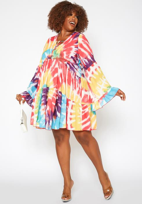 Asoph Plus Size Tie Dye Flare Long Sleeve Mini Dress
