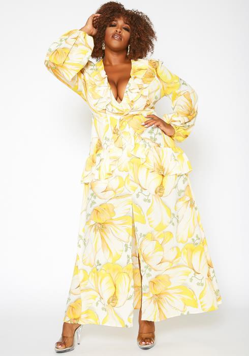 Asoph Plus Size Grand Floral Print Maxi Dress