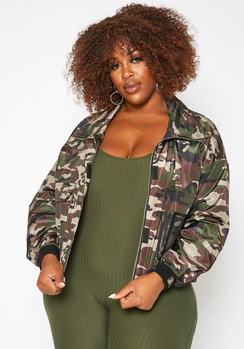 Asoph Plus Size Camo Print Windbreaker Jacket