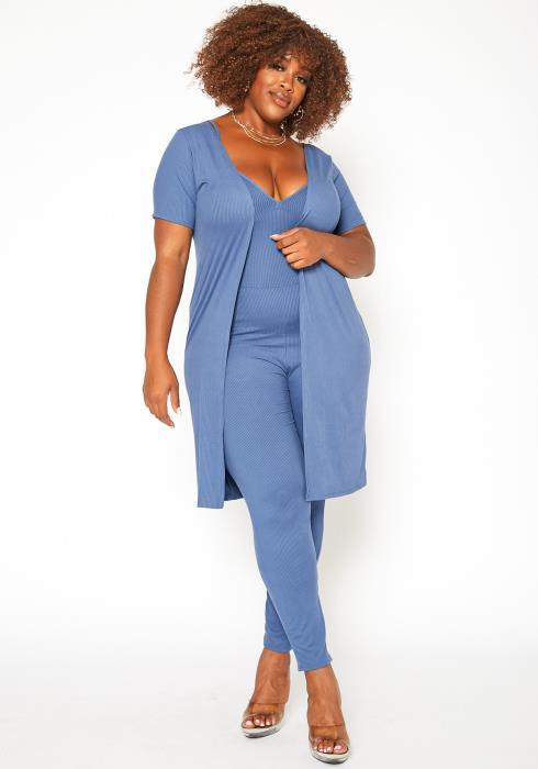 Asoph Plus Size Ribbed Knit Jumpsuit & Duster Set