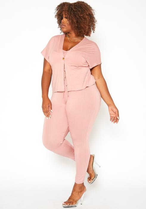 Asoph Plus Size Mauve Three Piece Set