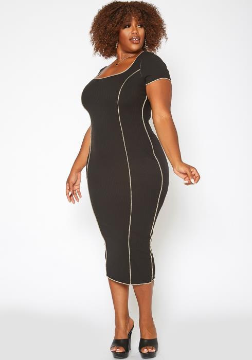 Asoph Plus Size Stitch Trim Bodycon Maxi Dress