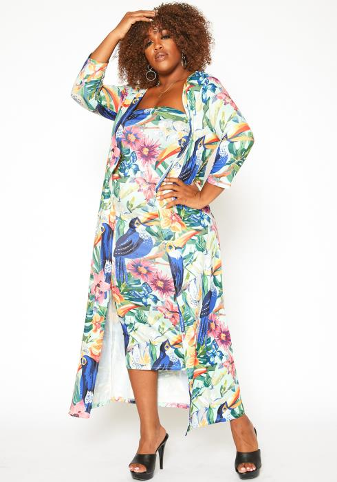Asoph Plus Size Birds Of Paradise Print Two Piece Set