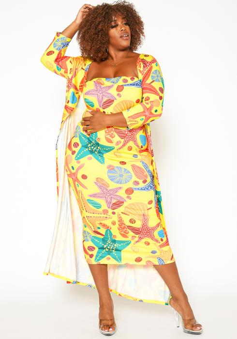 Asoph Plus Size Sea Star Print Two Piece Set