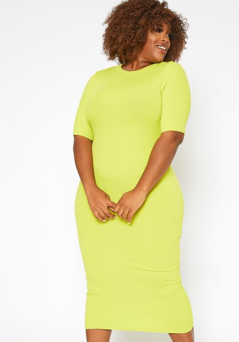 Asoph Plus Size Lime Ribbed Bodycon Midi Dress