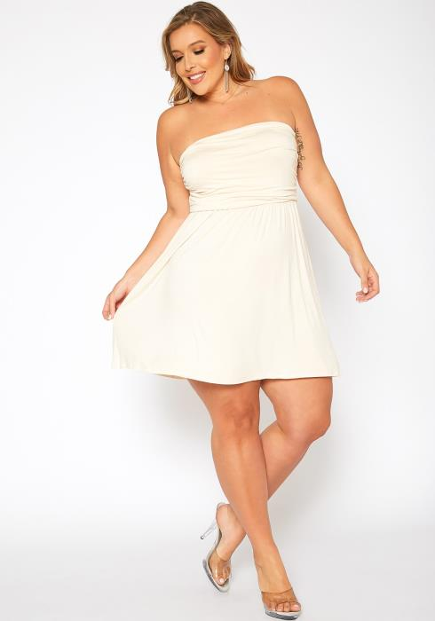 Asoph Plus Size Basic Tube Fit & Flare Mini Dress
