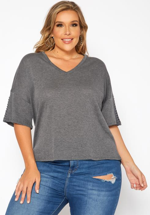 Asoph Plus Size Comfy Knit V Neck Tee Shirt
