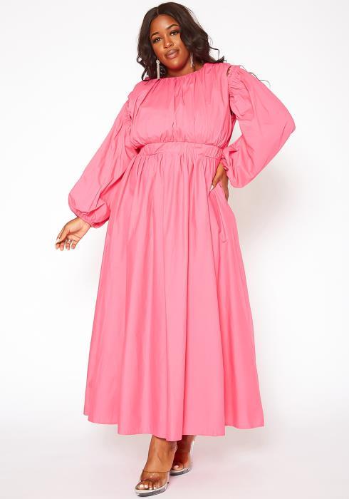 Asoph Plus Size Readjustable Fit & Flare Maxi Dress