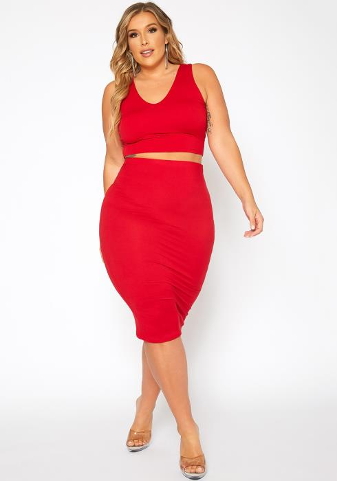 Asoph Plus Size Basic Tank Crop Top & Midi Skirt Set
