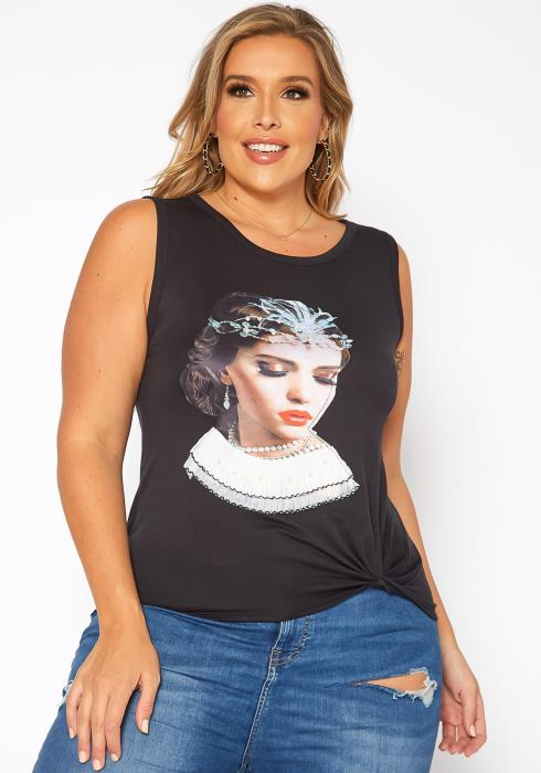 Asoph Plus Size Mother Of Pearl Graphic Print Tank Top
