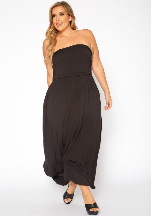Asoph Plus Size Basic Tube Fit & Flare Maxi Dress