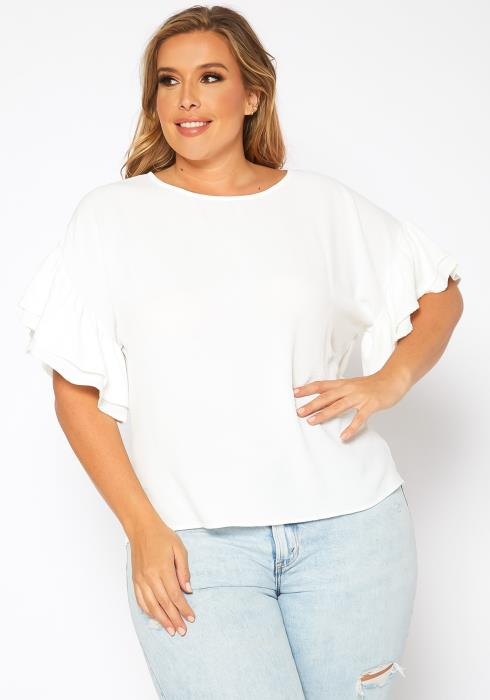 Asoph Plus Size Ruffle Trim Short Sleeve Top